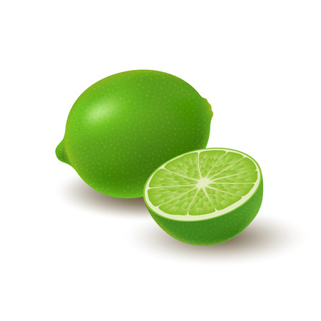 Isolated colored group of lime, half and whole juicy fruit with shadow on white background. Realistic citrus