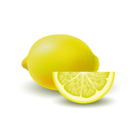 Isolated colored group of lemons, slice and whole juicy fruit with shadow on white background. Realistic citrus Illustration
