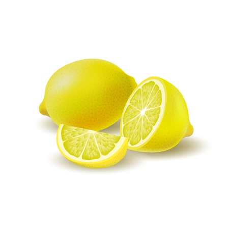 Isolated colored group of lemons, half, slice and whole juicy fruit with shadow on white background. Realistic citrus