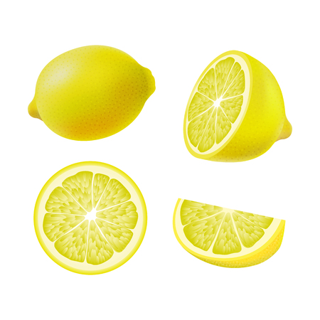 Set of isolated colored lemons, half, slice, circle and whole juicy fruit on white background. Realistic citrus collection Illustration