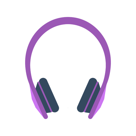 earphone: Isolated colored purple earphones on white background. Flat design icon