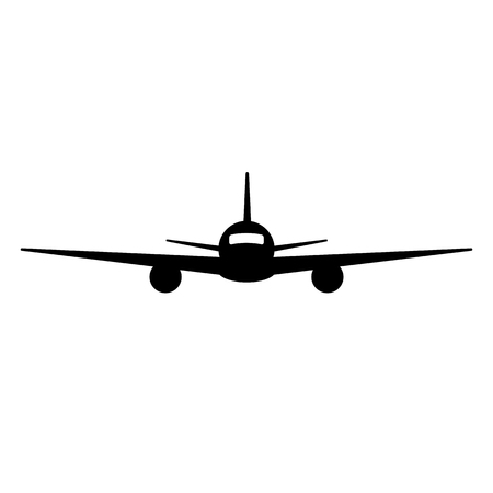 Black isolated silhouette of airplane on white background. Front view of aeroplane Illustration