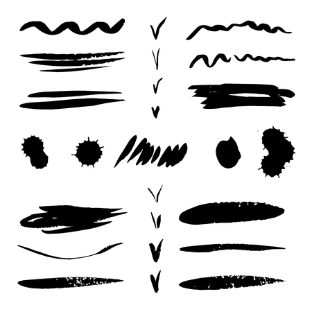 Set of Isolated black spots, lines, tick of ink, blot print, ink splash on white background Imagens - 83685534