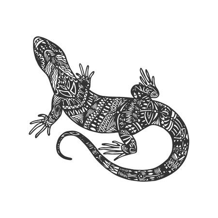 Lézard orné abstrait monochrome isolé contour noir dessiné à la main sur fond blanc.