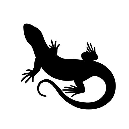 Silueta negra aislada de lagarto en el fondo blanco Ilustración de vector