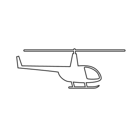 Black outline isolated helicopter on white background. Line icon of side view of helicopter