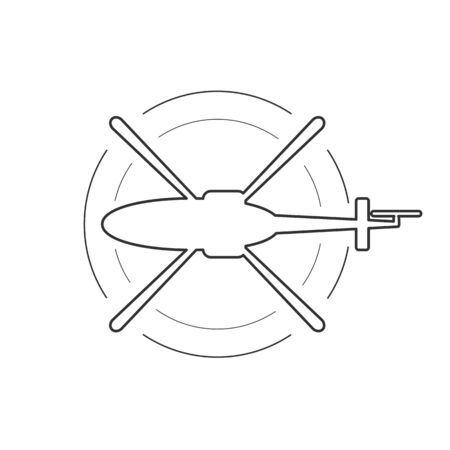 Black isolated outline icon of helicopter on white background. Line Icon of above view of helicopter