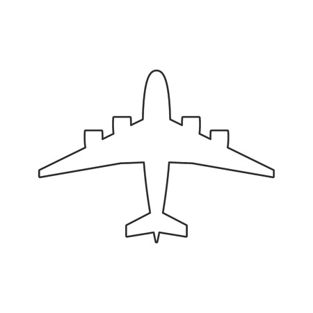 Black outline isolated airplane on white background. Line View from above of aeroplane