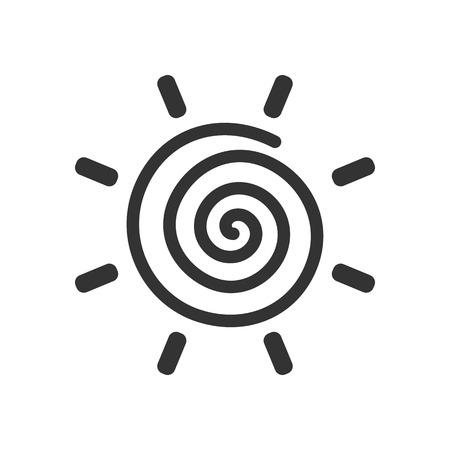 Stylized sun logotype. Icon of sun, flower. Isolated black logo on white background