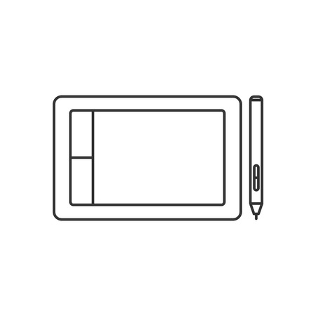 electronic background: Isolated black outline graphic tablet with stylus on white background. Line icon