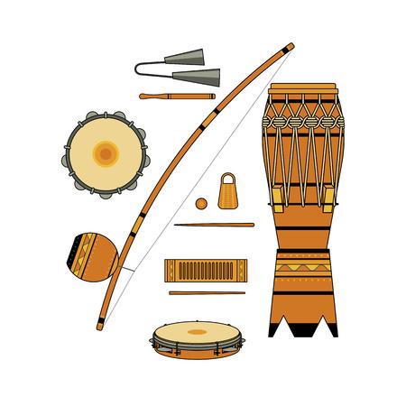 背景白に孤立したカラフルな装飾的な華やかなブラジル楽器のカポエイラの bateria の設定します。色の器械のコレクション: atabaque、アゴゴ、パンデ