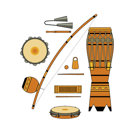 Set of isolated colorful decorative ornate brazilian musical instrument for bateria of capoeira on white background. Colored collection of instruments: atabaque, agogo, pandeiro, reco-reco, berimbau Illustration