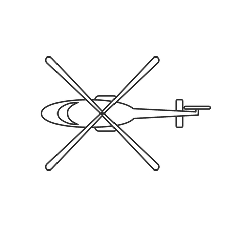 Black isolated outline icon of helicopter on white background. Line Icon of above view of helicopter. Illustration