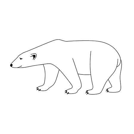 Isolated black outline polar bear on white background. Curve lines. Page of coloring book. Vettoriali