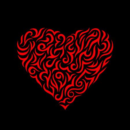 Beau Coeur Rouge Abstrait Decoratif Sur Fond Noir Saint Valentin Modele
