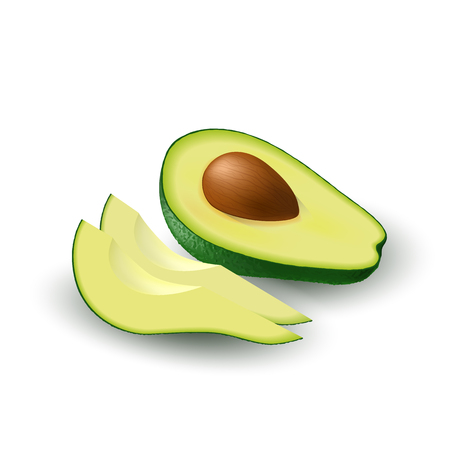 Isolated realistic colored half of juicy avocado with pit and slices with shadow on white background. Side view
