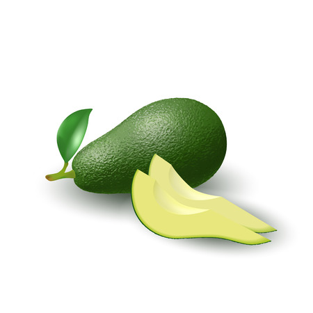 Isolated realistic colored whole juicy avocado with stick and green leaf and slices with shadow on white background. Side view