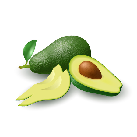 Isolated realistic colored whole juicy avocado with stick and green leaf, half avocado with pit and slices with shadow on white background.