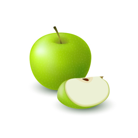 Isolated realistic colored green apple slice and whole juicy fruit with shadow on white background