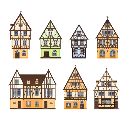 Set of isolated colored half timbered buildings on white background. Collection of flat facades of european framing houses, cottages Vettoriali