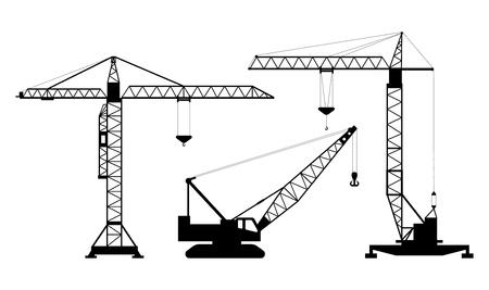 Set van geïsoleerde silhouetten van hijskranen op witte achtergrond. Verzameling hijskranen