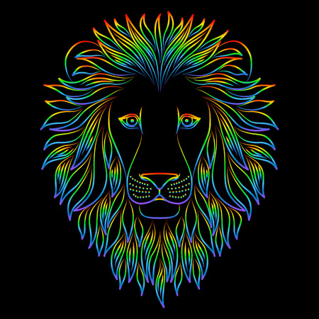 Isolated iridescent outline head of lion on black background. Rainbow line cartoon king of animals portrait. Curve lines Çizim
