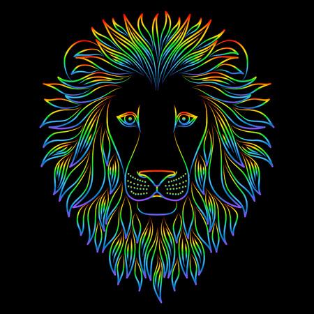 Isolated iridescent outline head of lion on black background. Rainbow line cartoon king of animals portrait. Curve lines 向量圖像