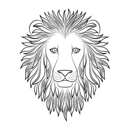 Isolated black outline head of lion on white background. Line cartoon king of animals portrait. Curve lines. Page of coloring book Ilustração