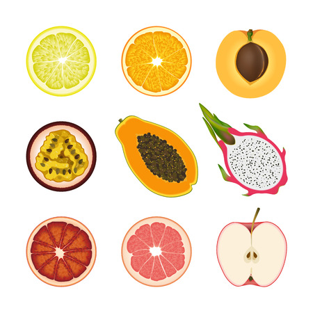 Set of isolated colored slices of lemon, orange, apricot, passion fruit, pawpaw, dragon fruit, pink grapefruit and red apple on white background. Realistic red, orange and yellow fruit collection