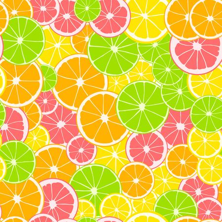 Seamless pattern. Print of slices of green lime, yellow lemon, pink grapefruit and orange. Citrus fruit background
