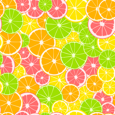 Seamless pattern. Print of slices of green lime, yellow lemon, pink grapefruit and orange. Citrus fruit background