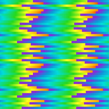Seamless rainbow abstract pattern. Colorful print composed of colored strips. Geometric bright background.