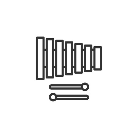 Black isolated outline icon of xylophone on white background. Line icon of percussion musical instrument