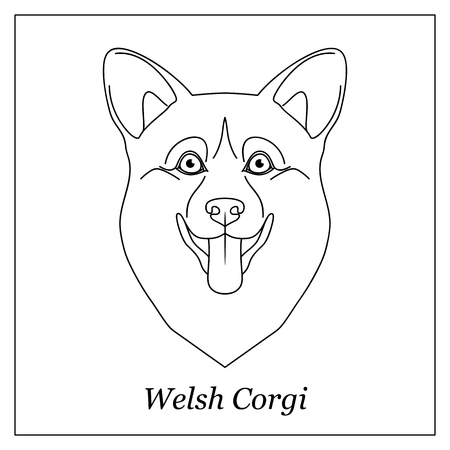 Isolated black outline head of happy welsh corgi on white background.