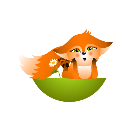 Isolated red cartoon fox cub on white background. Orange happy frendly fox lie on glade and dream. Wild animal funny personage