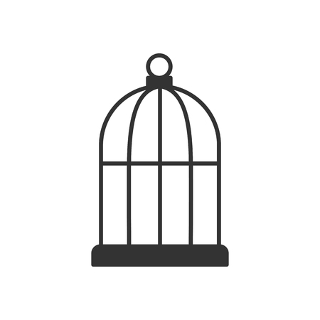 Black isolated outline icon of bird cage on white background. Line Icon of cage
