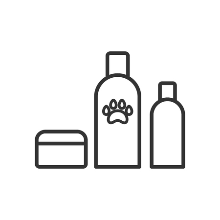 Black isolated outline icon of cosmetic for animals on white background. Line Icon of animals cosmetic