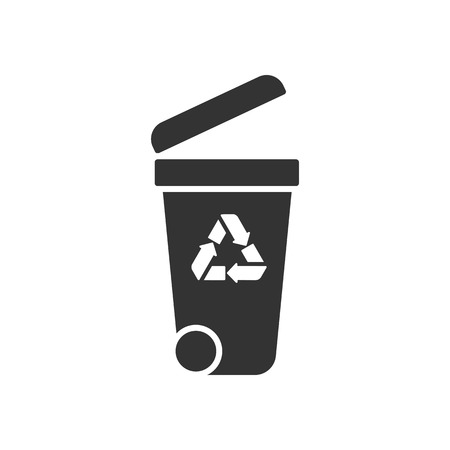 Black isolated icon of container on white background. Silhouette of bin for trash