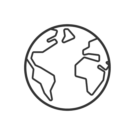 Black isolated outline icon of globe on white background. Line Icon of earth Illustration