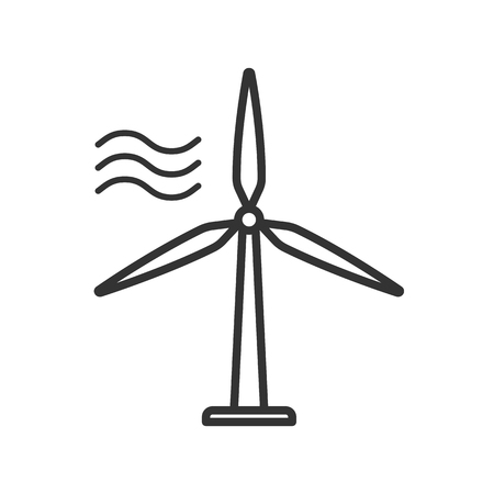 Black isolated outline icon of wind energy turbine on white background. Line Icon of wind energy station