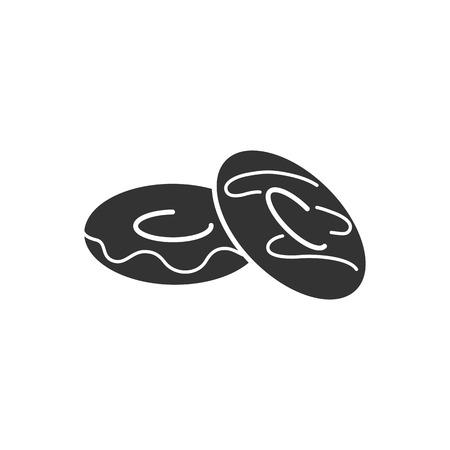 Black isolated silhouette icon of doughnut on white background. Icon of donut Illusztráció