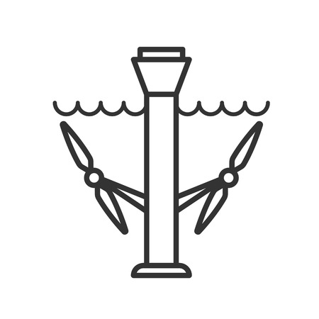 Black isolated outline icon of tidal energy station on white background. Line Icon of tidal energy station