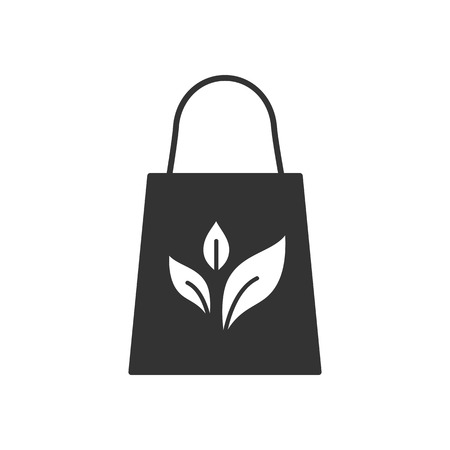 Black isolated icon of eco bag on white background. Silhouette of recycle eco bag