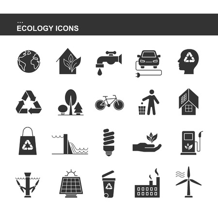 Isolated black collection icons of electric car, solar panel, bin, wind hydroelectric tidal power station, bio fluel, eco house, recycling, factory, forest, bicycle. Set of silhouette of ecology icon