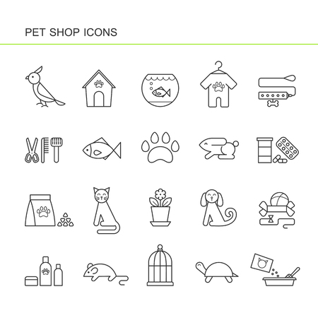 Isolated black outline collection icons of dog, cat, parrot, fish, aquarium, animal food, collar, turtle, kennel, grooming accessories, cage, mouse flower pot rabbit lizard. Set of line pet shop icon Illustration
