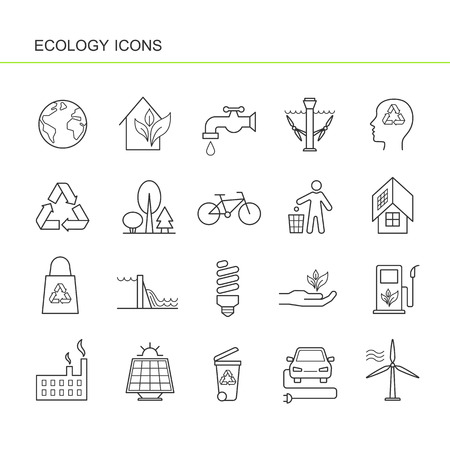 Isolated black outline collection icons of electric car, solar panel, bin, wind hydroelectric tidal power station, bio fluel, eco house, recycling, factory, forest, bicycle. Set of line ecology icon