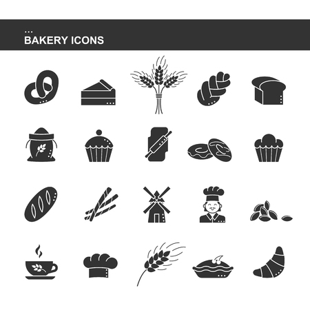 Isolated black silhouette collection icon of croissant bread, cake, ear wheat, chef, mill, cup, cupcake, pretzel, sack flour, challah, sheaf, cap cook, rolling pin doughnut toast Set of bakery icon
