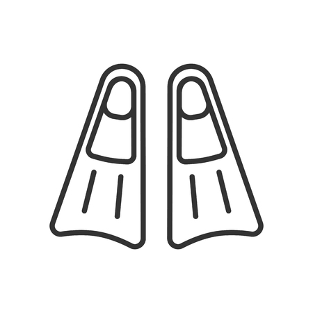 Black isolated outline icon of flippers on white background. Line Icon of flippers