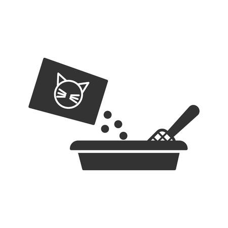 Black isolated icon of toilet for cat on white background. Icon of filler for cat