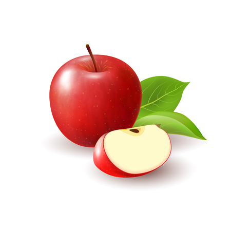Isolated realistic colored red apple slice and whole juicy fruit with green leaves and shadow on white background Ilustração